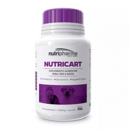 Nutricart 1000 mg Suplemento Alimentar para Cães e Gatos 60 Comprimidos 60 g - Condroitina A - Glicosamina - Magnésio Quelatado - Nutripharme